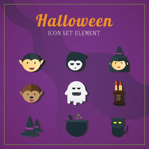 Halloween icon illustrations element set one. Premium Vector