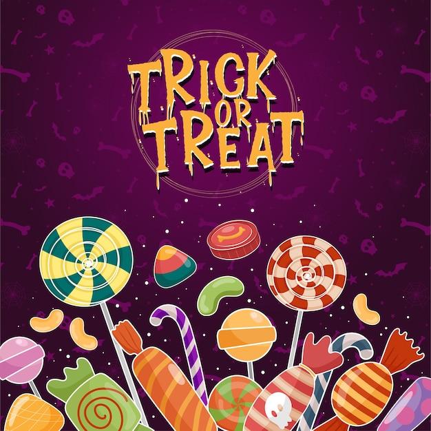 Vettore dell'icona di halloween con caramelle colorate su sfondo viola Vettore gratuito