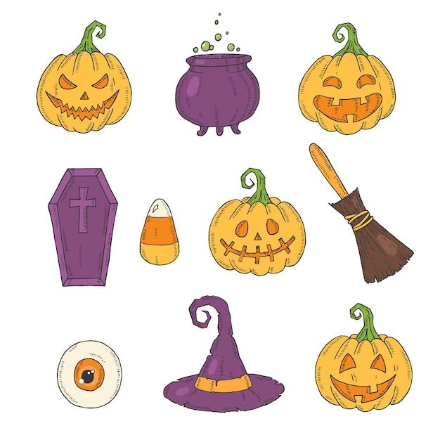 Halloween icons color set Premium Vector