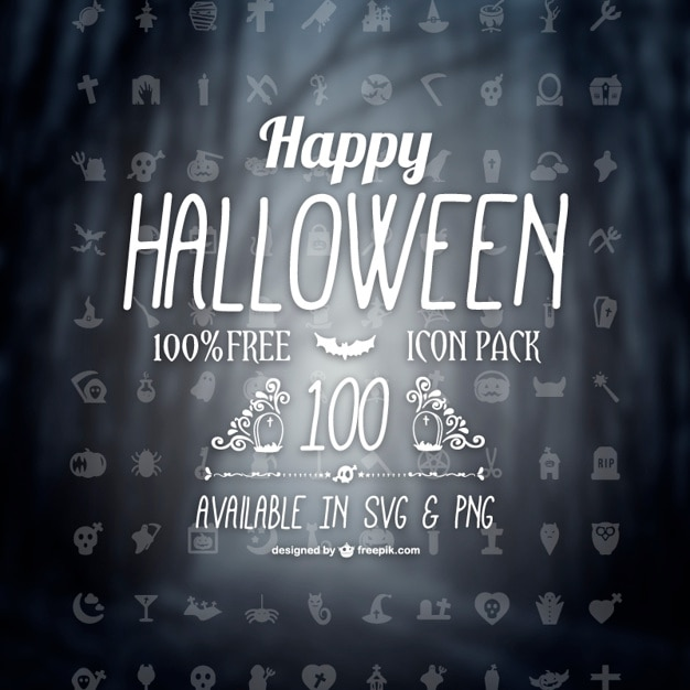 Halloween icons pack Free Vector