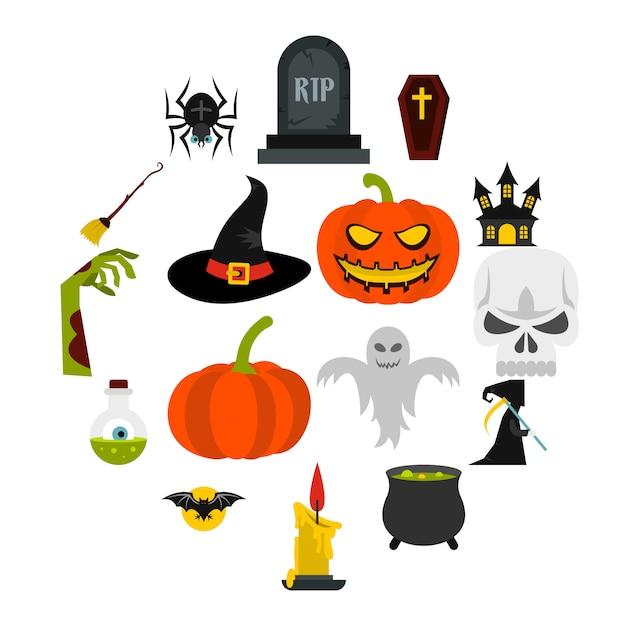 Halloween icons set, flat style Premium Vector