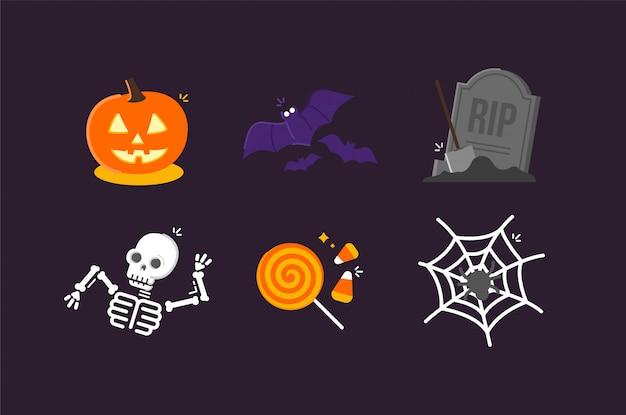 Halloween illustration icons Premium Vector
