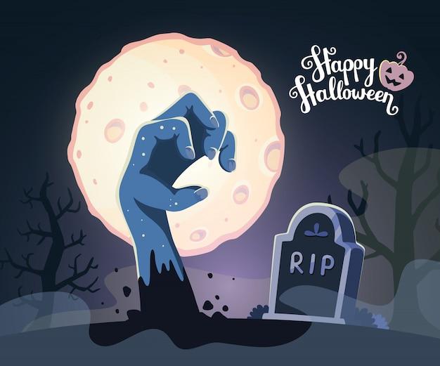 満月の墓地でゾンビの手のハロウィーンイラスト Premiumベクター