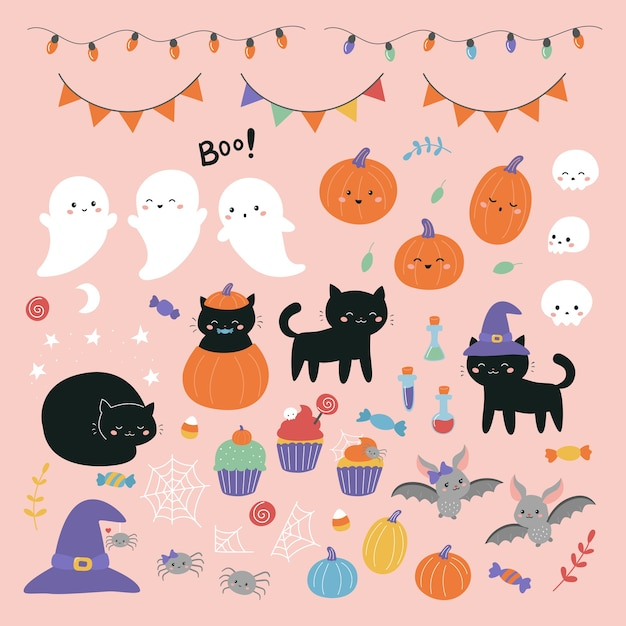 Halloween illustration set with cartoon characters for kids. Premium Vector