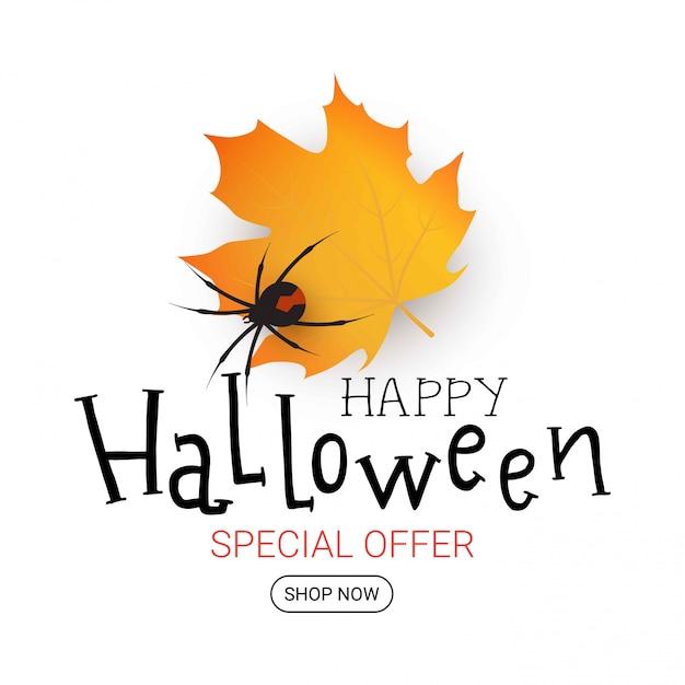 Halloween illustration with autumn leaf. sale banner. happy halloween Premium Vector