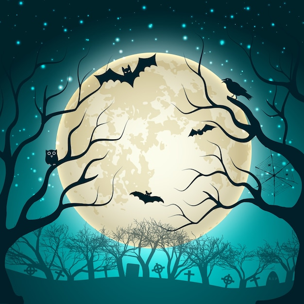 Halloween illustration with big glowing moon ball on night sparkle sky and bats in magic forest flat Free Vector