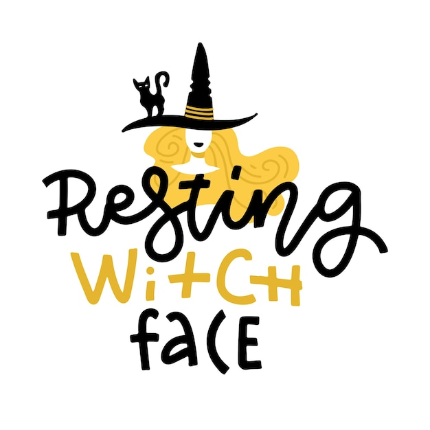 Halloween illustration with cute doodle witch in hat and lettering text. resting witch face. hand drawn greeting card Premium Vector