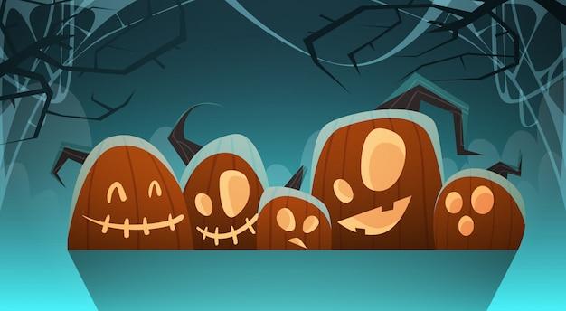 Halloween illustration with different pumpkins traditional decoration Premium Vector