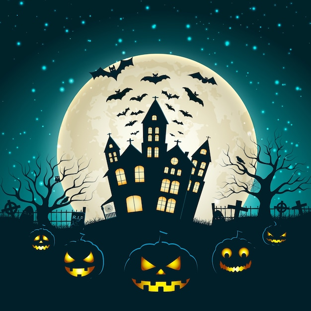 Halloween illustration with silhouette of castle at glowing moon and dead trees near cemetery crosses flat Free Vector