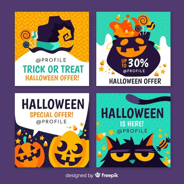 Vector Illustration Instagram: Halloween Instagram Post Collection Vector