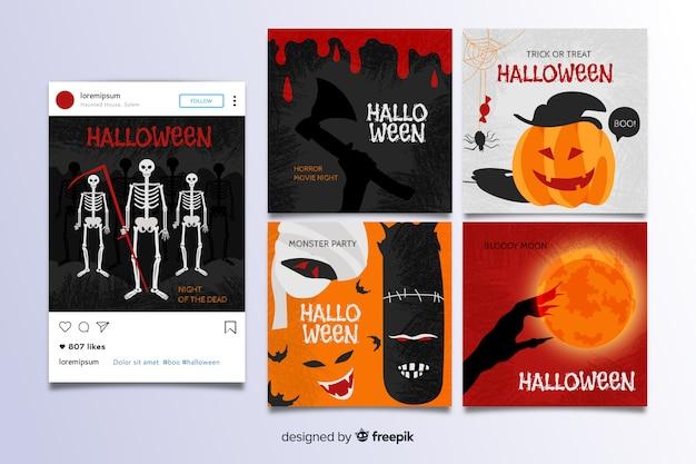 Collezione di post di instagram di halloween Vettore gratuito