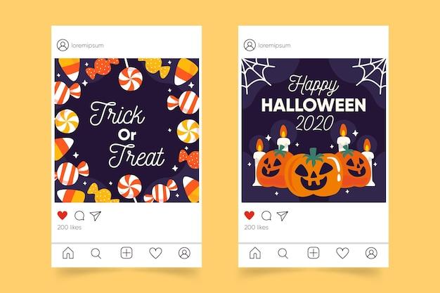 Хэллоуин инстаграм пост Бесплатные векторы