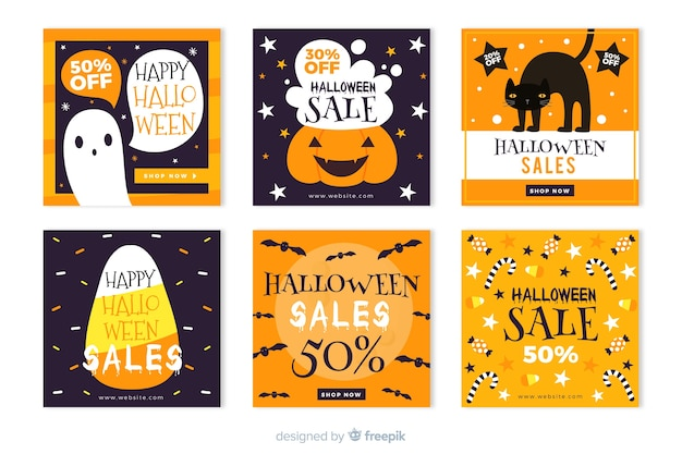 Halloween instagram sale stories collection Free Vector