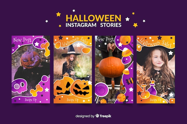 Halloween instagram stories collectio Premium Vector