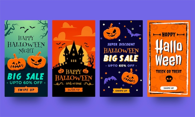 Halloween instagram stories collection. templates in flat design ready to use Premium Vector