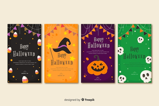 Halloween instagram stories collection with festive garland Free Vector