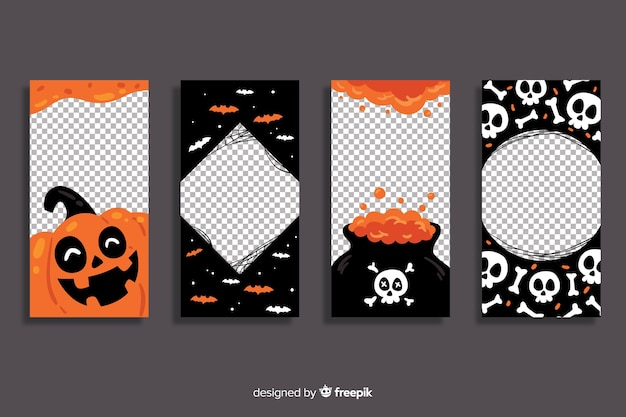 Halloween instagram stories collection with transparent background Premium Vector