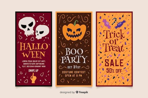 Halloween instagram stories collection Free Vector