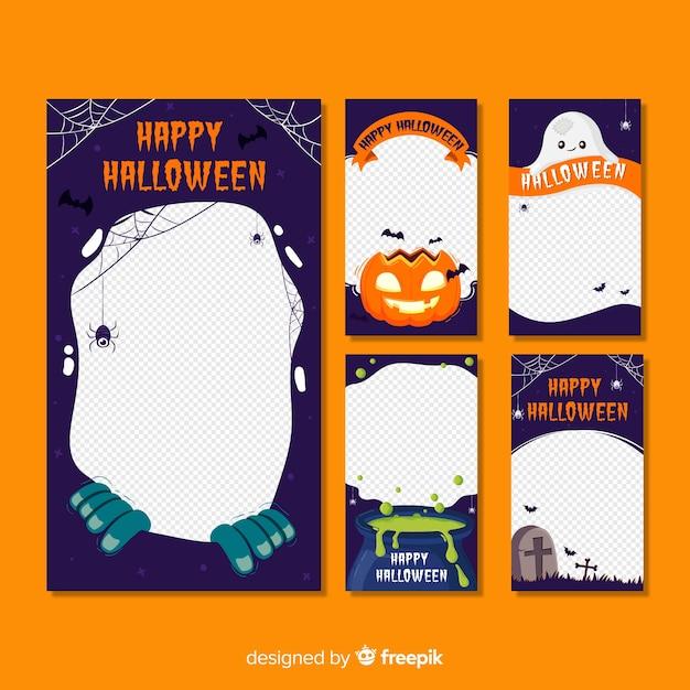 Halloween instagram stories collection Premium Vector