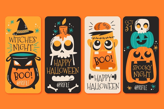 Коллекция историй хэллоуина instagram Бесплатные векторы