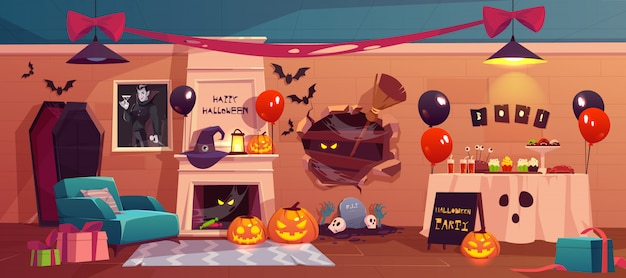Halloween interior for party celebration Free Vector