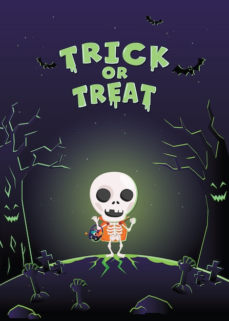Halloween invitation card. halloween costume monster in the graveyard . Premium Vector