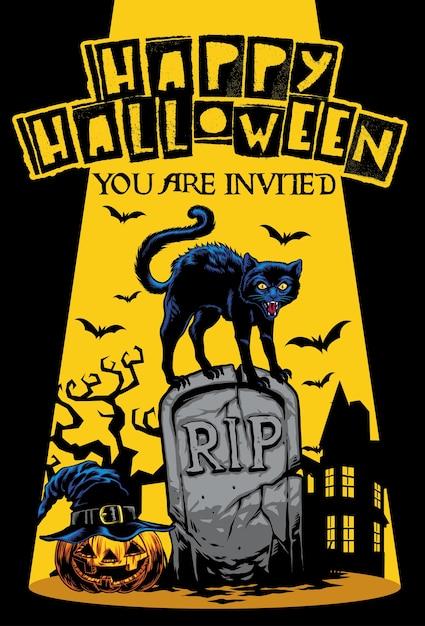 Halloween invitation design with cat standing on the top of tombstone Premium Vector
