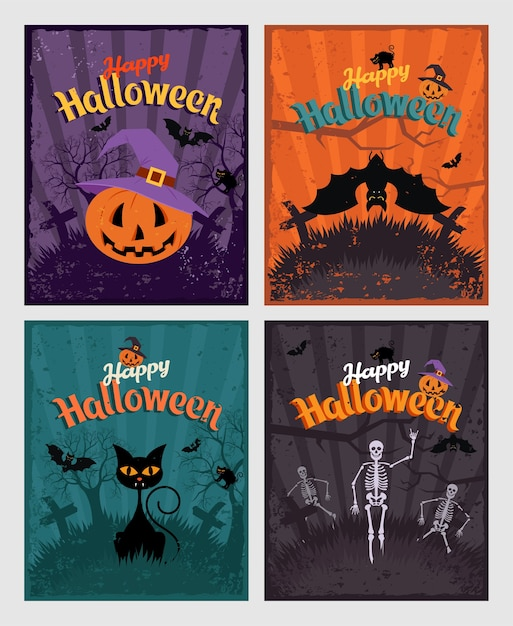 Halloween Invitation Or Greeting Cards Set Vector Premium Download