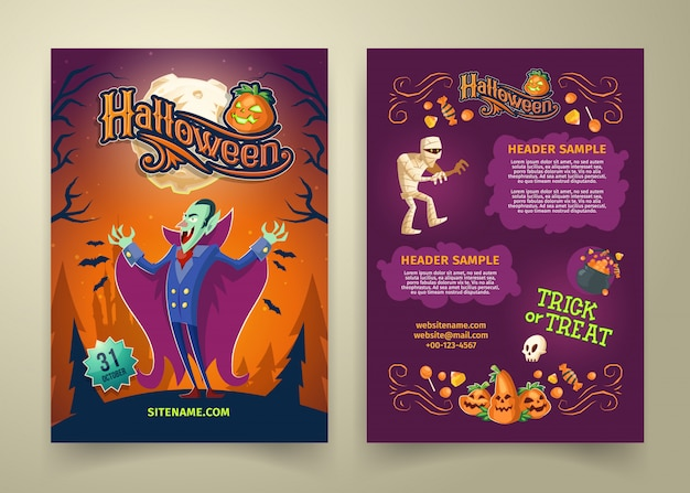 Halloween invitation on list. brochure template with headers. background with count dracula Free Vector