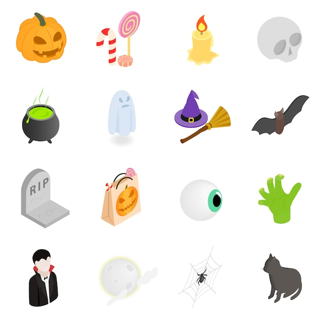 Halloween isometric 3d icons set Premium Vector