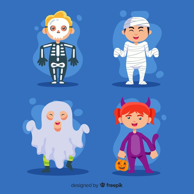 Halloween kid collection on flat design Free Vector