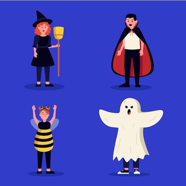 Halloween kid collection flat design Free Vector