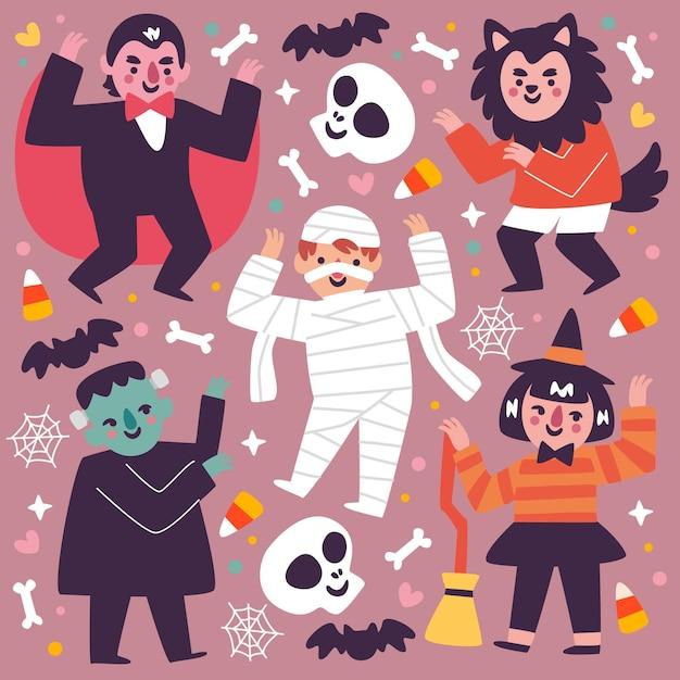 Хэллоуин малыш коллекции плоский дизайн Бесплатные векторы