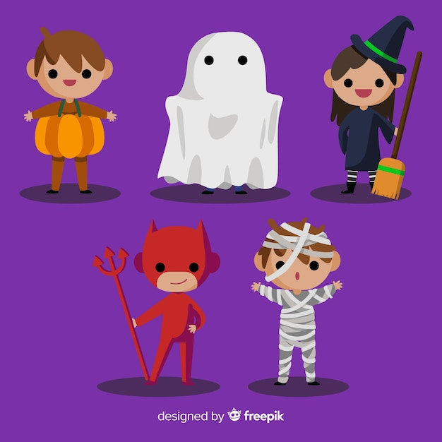 Halloween kids character collection Free Vector