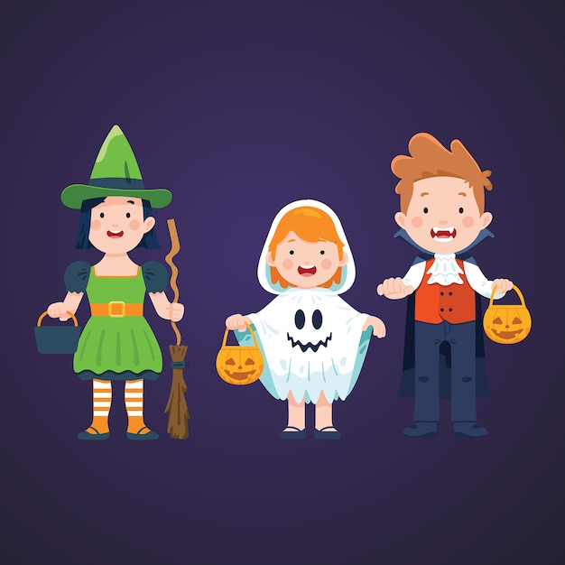 Halloween kids character set Premium Vector