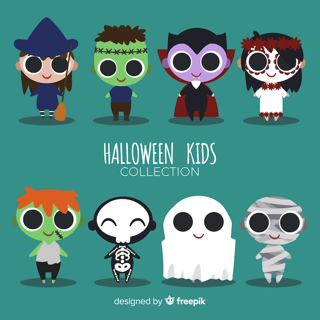 Halloween kids character set Free Vector