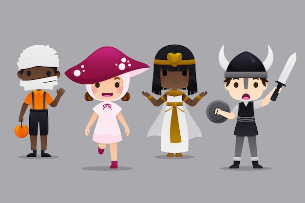 Halloween kids costume collection Premium Vector