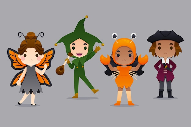 Halloween kids costume pack Premium Vector
