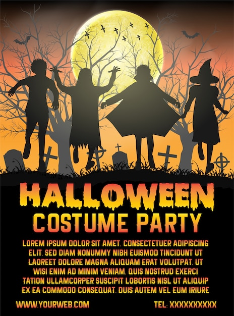 Halloween kids costume party in front of cemetery poster template Premium Vector