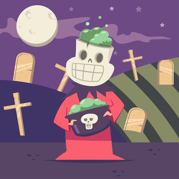 Halloween kids costume of skeleton on the background of the graveyard and the moon. Premium Vector