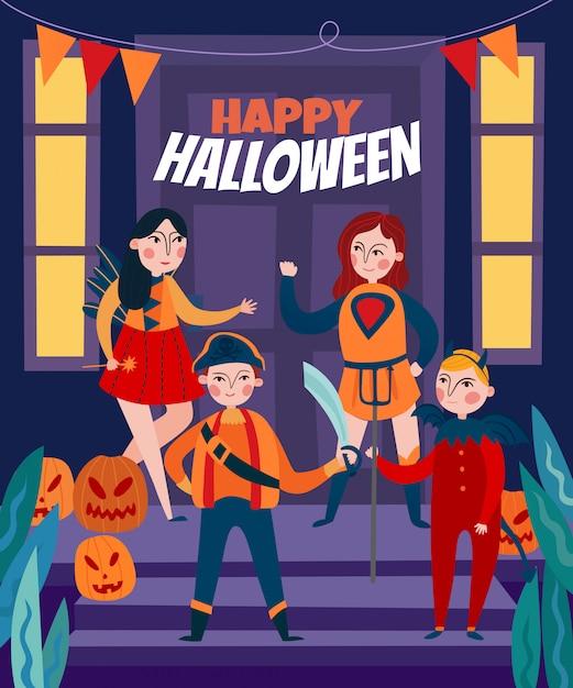 Halloween illustrazione per bambini Vettore gratuito