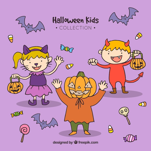 Halloween kids on a lilac background Free Vector