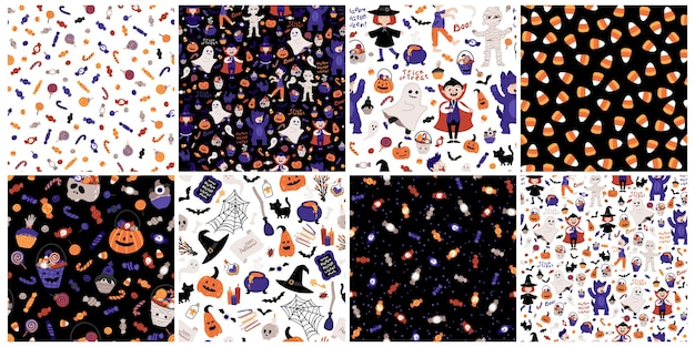 Halloween kids party seamless patterns set. children in costumes. illustration of characters, lettering, candies and elements in cartoon hand drawn style. ideal for fabric printing, packaging. Premium Vector