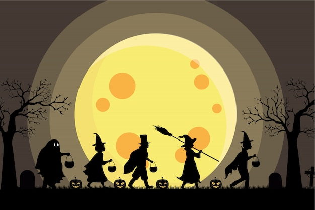 Halloween kids silhouette costume party and big moon background Premium Vector