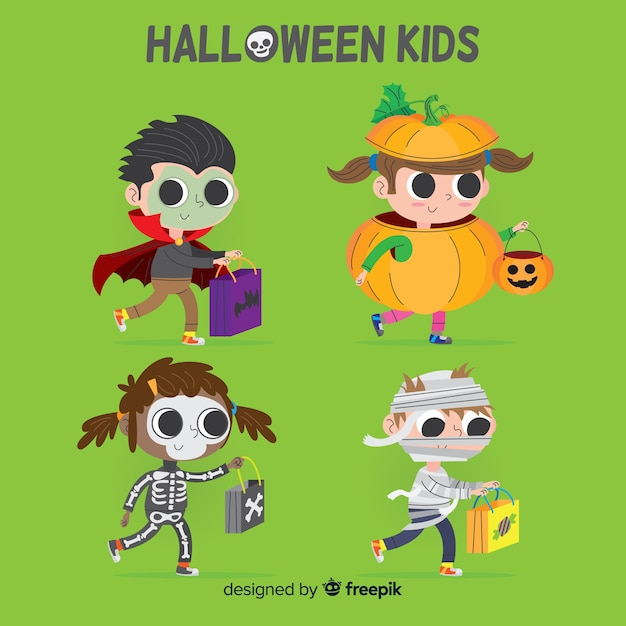 Halloween kinds collection in hand drawn style Free Vector
