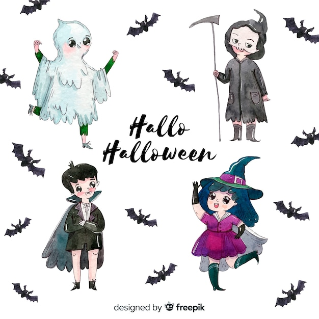 Halloween kinds collection in watercolor Free Vector
