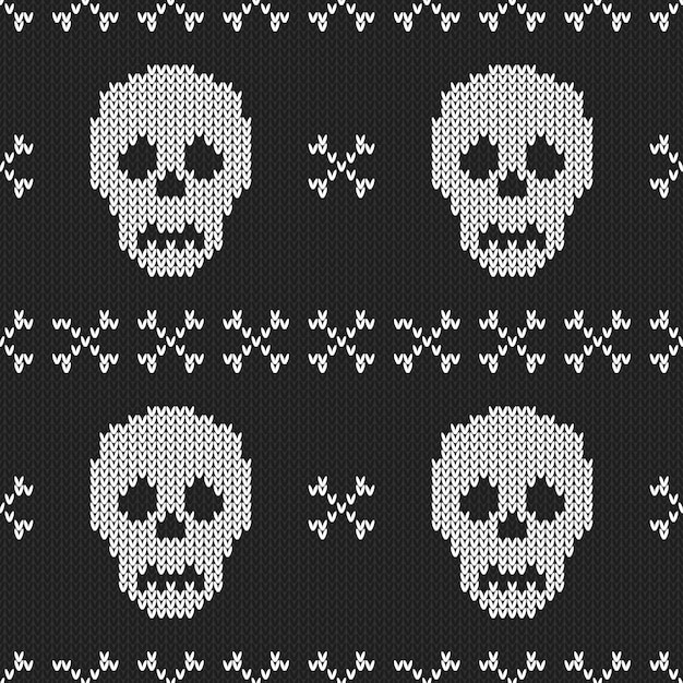 Halloween knitted seamless pattern. Premium Vector