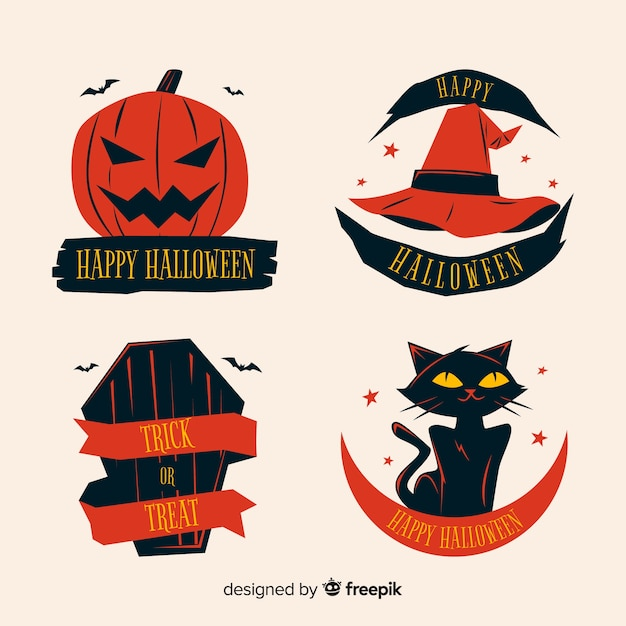 Halloween label collection on flat design Free Vector
