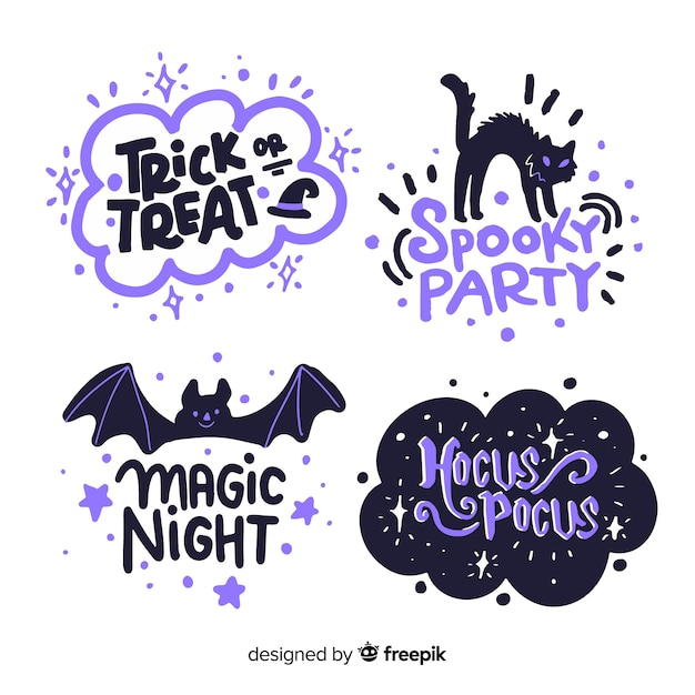Halloween label collection on white background Free Vector