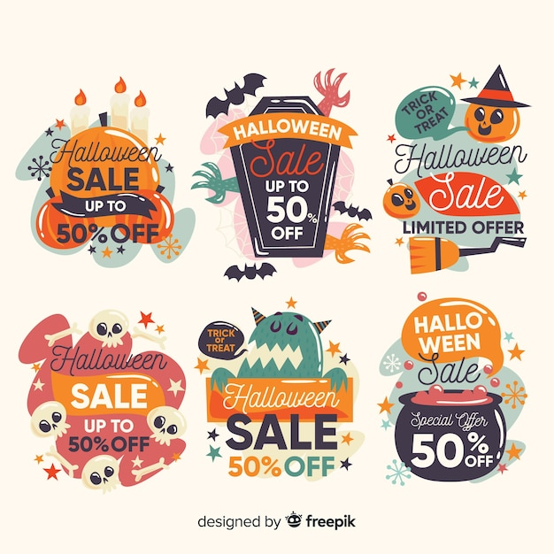Halloween label collection with offer vouchers Free Vector